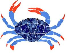 starfish Stained Glass Pattern | Blue Crab Mosaic Tile Pattern