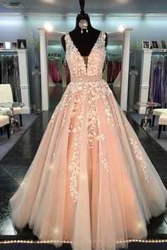 Ball Gown Lace Tulle V-neck Long A-line Quinceanera Dresses Prom Dresses K694 V Neck Prom Dresses, Wedding Dresses 2018, White Lace Wedding Dress, White Dress, Ball Gowns, Bridal Gown, Engagement, Backless Homecoming Dresses, Prom Party Dresses