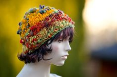 """NGLE COPY. Made by hand from the highest quality wool , hand spun on the spinning wheel and hand-dyed in a wonderful, vibrant colors (wool is a variable thickness of the """"art yarn"""", which gives the work an unusual,"""