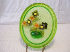 New Designs Inc. Acrylic Lucite Green Floral Wall Plaque Wired Flowers