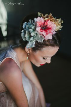 """""""Frida Kahlo: A Wedding Inspiration Shoot"""" Honestly, not a lot of reference to Frida at all (unless they think that parting your hair down the middle = Frida Kahlo...go figure), but still a set of quite beautiful images."""
