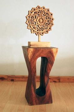 """Wood Stand or Stool Squeezed Rectangle  12"""" Sq x 22"""" H  #Carved #Furniture $229.00 USD"""