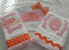 Baby boutique GiFT set Personalized BuRP CLoTH and BiB in orange and pink Baby Embroidery, Embroidery Monogram, Embroidery Ideas, Baby Sewing Projects, Sewing For Kids, Sewing Ideas, Baby Burp Cloths, Baby Bibs, Sew Baby