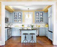 Blue And Yellow Kitchen que no falte amarillo en la cocina! | blue yellow kitchens, blue