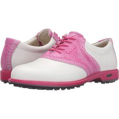 ECCO Golf Classic Golf Hybrid II (White/Candy) Women's Golf Shoes ($120) ❤ liked on Polyvore featuring shoes, athletic shoes, white, leather upper shoes, wingtip shoes, golf shoes, wing tip shoes and wingtip golf shoes