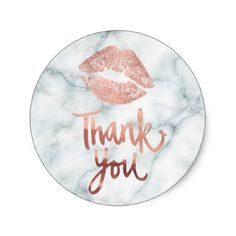 #wedding - #rose gold lipstick kiss thank you on marble classic round sticker