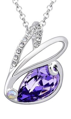 Fappac Rhodium Plated Purple Crystal from Swarovski Bunny Rabbit Pendant Necklace, 15.5 2' Ext * Startling review available here  : Jewelry Necklaces