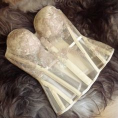 Sheer bridal cupped overbust made by Sparklewren. | Mesh and Sheer Corsets
