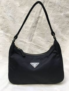 e959934e4185 Prada Black Nylon Tessuto Shoulder Bag Hand Bag Small Size #fashion  #clothing #shoes