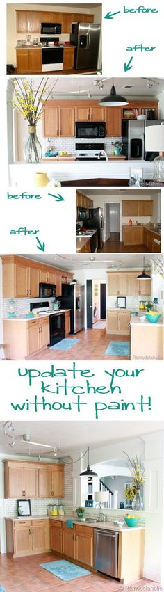 Kitchen Makeover without painting @Remodelaholic .com #kitchen #Makeover #wood_cabinets
