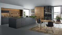 Fabulous Modern Kitchen Sets on Simplicity, Efficiency and Elegance - Home of Pondo - Home Design Kitchen Flooring, Kitchen Furniture, Kitchen Interior, Kitchen Cabinets, Kitchen Decor, Kitchen Island, Kitchen Laminate, Eclectic Kitchen, Black Cabinets