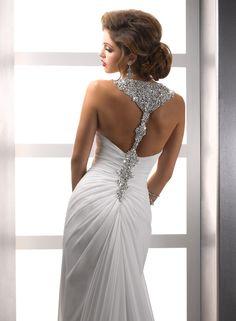 Wedding Dress Inpiration: Maggie Sottero. Gorgeous White gown with Swarvoski Crystal Racerback Detailing