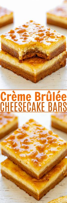 Crème Brûlée Cheesecake Bars Crème Brûlée Cheesecake Bars – EASY bars that taste like crème brûlée met a cheesecake on the way to the oven with a sugar cookie crust! Rich, sinfully decadent, and a great make-ahead dessert for parties and events! Creme Brulee Cheesecake Bars, Strawberry Cheesecake Bars, Caramel Apple Cheesecake Bars, Cheesecake Recipes, Make Ahead Desserts, Köstliche Desserts, Delicious Desserts, Dessert Recipes, Bar Recipes