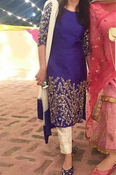 The Stylish And Elegant Pant Style Suit In Purple Colour Looks Stunning And Gorgeous With Trendy And Fashionable Raw Silk Fabric Looks Extremely Attractive And Can Add Charm To Any Occasion. This is ...