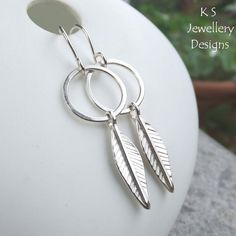 Leaves & Circles Sterling Silver Earrings - Hand Stamped Leaf Jewellery £30.00