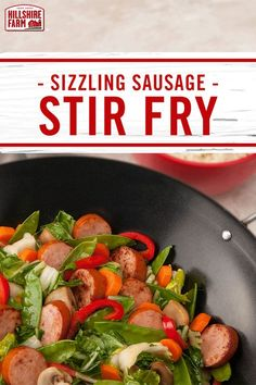 This Hillshire Farm® Smoked Sausage Stir Fry recipe blends Asian flavors into a farmhouse meal. With sliced carrots, pea pods and bok choy, you'll enjoy a weeknight meal you'll want to make again. Healthy Dinner Recipes, Diet Recipes, Cooking Recipes, Clean Recipes, Healthy Meals, Delicious Recipes, Cooking Tips, Soup Recipes, Easy Recipes