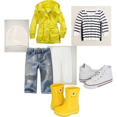 set with yellow jacket, created by ndudnik on Polyvore
