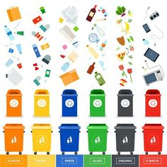 Buy Trash Cans with Sorted Garbage by mountainbrothers on GraphicRiver. Garbage cans vector flat illustrations. Many garbage cans with sorted garbage. Ecology and recycle c. Reduce Reuse Recycle, How To Recycle, Garbage Can, Garbage Waste, Recycling Bins, Flat Illustration, Free Vector Art, Zero Waste, Ecology