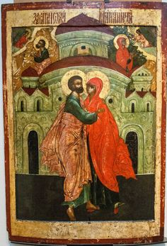 The Meeting of Joachim and Anna the Righteous, Russian Orthodox icon Religious Icons, Religious Art, Russian Icons, Immaculate Conception, Russian Orthodox, Art Icon, Orthodox Icons, Sacred Art, Roman Catholic
