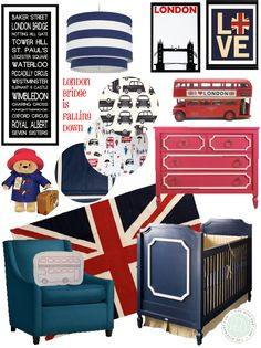 In honor of Price George's 1st birthday earlier this month, I created a London inspired nursery.  I love the deep navy, and bright reds of this board, cou