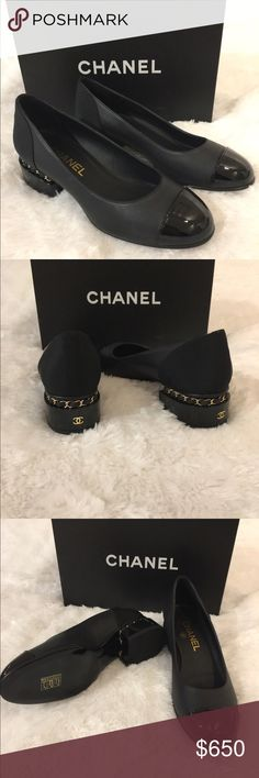 Chanel Stacked Heels with Chain Brand New Chanel Stacked Heel with Patent Cap Toe.  Comes with two dust bags and the box. CHANEL Shoes Platforms