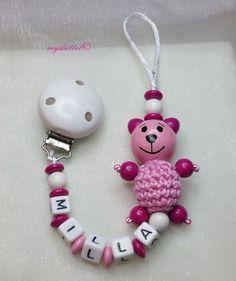 Schnullerkette Häkelperle Teddy Name Baby md351 von myduttel auf DaWanda.com