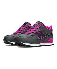 Loving this Black & Voltage Violet 574 Suede Sneaker on #zulily! #zulilyfinds