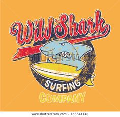 Surfing shark - Vector artwork for children wear in custom colors, grunge effect in separate layer by ZiaMary, via Shutterstock