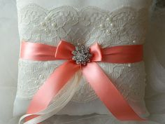 Wedding Ring Bearer Pillow Coral And Ivory Satin by GartersByTania