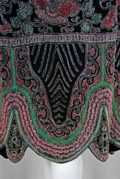 1920's French Pink Green Beaded Floral-Motif Silk Flapper Dress   From a collection of rare vintage evening dresses at http://www.1stdibs.com/fashion/clothing/evening-dresses/