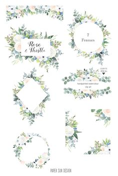 Watercolor Clip Art Frames White Rose And Thistle Flower Clipart Borders And Invitation Templates Wedding Branding And Scrapbooking - Hochzeit Asterix Y Obelix, Corona Floral, White And Pink Roses, Thistle Flower, Wedding Branding, Watercolor Projects, Image Clipart, Clip Art, Floral Logo