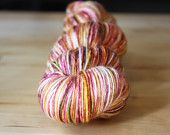 Hand Dyed Yarn / Gold Garnet Moss White Silk Merino Wool / Sport Weight NEW