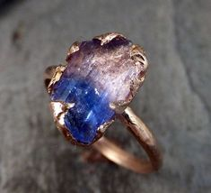 Raw Tanzanite Crystal Rose Gold Ring by casey
