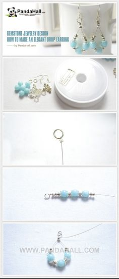 Jewelry Earrings How to Make an Elegant Drop Earring with Gemstone Beads - All of you can make an earring handmade design by yourselves. You can send this elegant earring design to your friends of wear it yourself. View this original tutorial. Wire Jewelry, Jewelry Crafts, Beaded Jewelry, Jewelery, Wire Rings, Bridal Jewelry, Gold Jewelry, How To Make Earrings, Bead Earrings