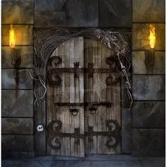 Photo about Spooky dungeon door flanked with two flaming torches and decorated with twigs and skeleton bones. Image of creepy, scary, medieval - 16804632 Shower Curtain Sets, Fabric Shower Curtains, Halloween Diy, Halloween Decorations, Halloween Bathroom, Halloween Queen, Gothic Halloween, Halloween Fabric, Halloween Projects