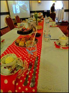 vintage tea party for a hen party: Vintage tea party table with red polka dots Tea Party Table, Vintage Tea, Hens, Main Colors, Color Themes, Party Themes, 1950s, Polka Dots, Table Decorations