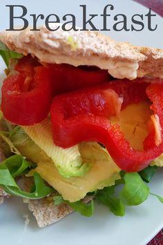 Pitta bread with hummus and avocado.