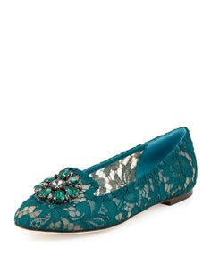 Crystal-Embellished+Lace+Loafer,+Dark+Green+by+Dolce+&+Gabbana+at+Bergdorf+Goodman.