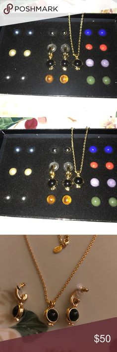 """Vintage Joan Rivers Classic necklace/earrings Beautiful Joan Rivers Classic Collection Double set earrings and necklace, earrings come with 20 multi colored stones, two of each, necklace comes with 10 stones that all match the earrings, interchangeable, gold plated and awesome!! Never worn and new in box. Necklace is 18"""" in length. Price firm unless bundled. Joan Rivers Classic Collection Jewelry Necklaces"""