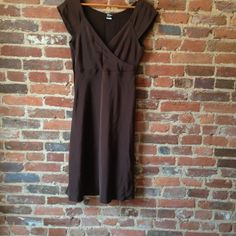 """J. Crew 100% Silk Faux Wrap Dress (Sz. 8) Brown 100% silk sleeveless dress; top is faux wrap. Zips on the side, faux wrap allows for extra room in bust area; bottom of the dress has slight flare;  43-1/2 """" from shoulder to hem, dress in good condition; J. Crew Dresses"""