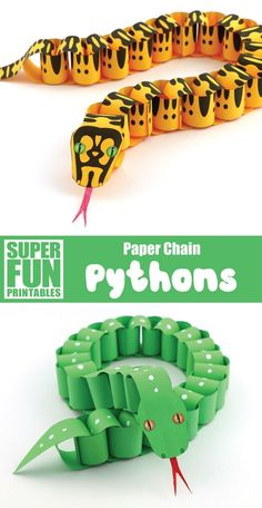 Paper chain snake craft for kids based on 2 real species of python found in Australia's Daintree Rainforest. Printable template available. Create paper chain pythons based on real snakes from Austraila's tropical Daintree Rainforest. This is a fun p Animal Crafts For Kids, Toddler Crafts, Preschool Crafts, Diy For Kids, Cool Crafts For Kids, Paper Animal Crafts, Reptiles Preschool, Animal Activities For Kids, Diy Crafts School