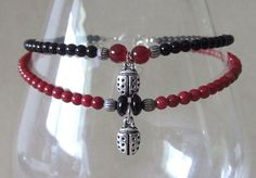 Red & Black Beaded Anklet w/Silver Plated Ladybug by Pizzelwaddels