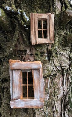 Fairy Window made of Reclaimed Wood created by Olive~ 2 Inches by 2 Inches x , One Window, Choose From Three Sizes Diy Fairy Door, Fairy Garden Doors, Mini Fairy Garden, Fairy Doors On Trees, Fairy Tree Houses, Fairy Garden Houses, Gnome Garden, Fairy Crafts, Garden Crafts