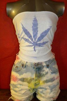 Upcycled Marijuana Leaf  T Shirt Tube Top Stretchy by KillWalmart, $15.00