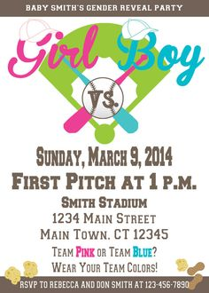 Baseball Gender Reveal Invitation by Bambina Bowtique on Etsy! Great Gender Reveal Party Idea