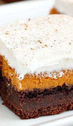 Chocolate Pumpkin Bars Recipe ~ layers or rich chocolate cake, silky pumpkin pie and light frosting