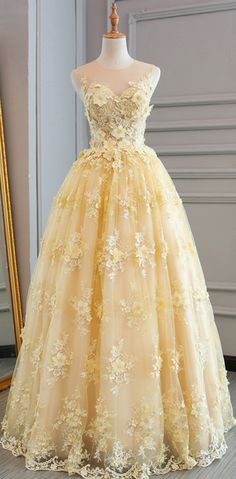 Prom Dresses,A-line Princess Scoop Neck/Illusion Neck Sleeveless Floor #prom #promdress #dress #eveningdress #evening #fashion #love #shopping #art #dress #women #mermaid #SEXY #SexyGirl #PromDresses