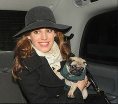 Handsome Pug, Rocky with actress & model Kelly Brook.