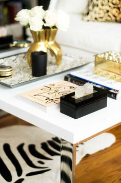 Bliss at Home Taylor Burke Home Style It Challenge Living Room Reveal Times Two Design Punk Rock Skull Box Gold and Black Lacquer