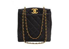 """Vintage Chanel 11"""" Black Quilted Caviar Leather Shoulder Tote Bag"""